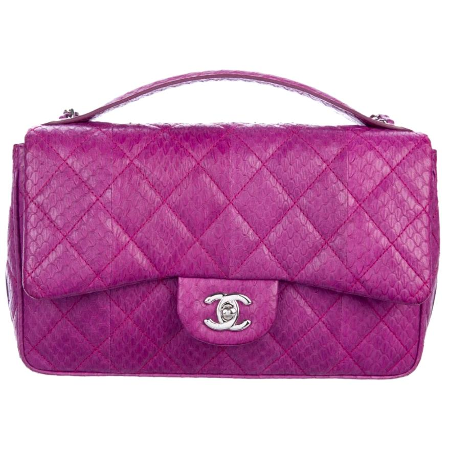 Chanel Magenta Pink Snakeskin Exotic Silver Medium Top Handle Shoulder Flap Bag