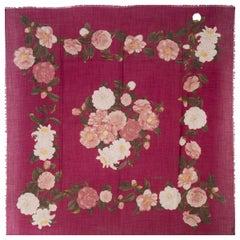 CHANEL magenta pink wool & silk CAMELIA PRINT Shawl Scarf