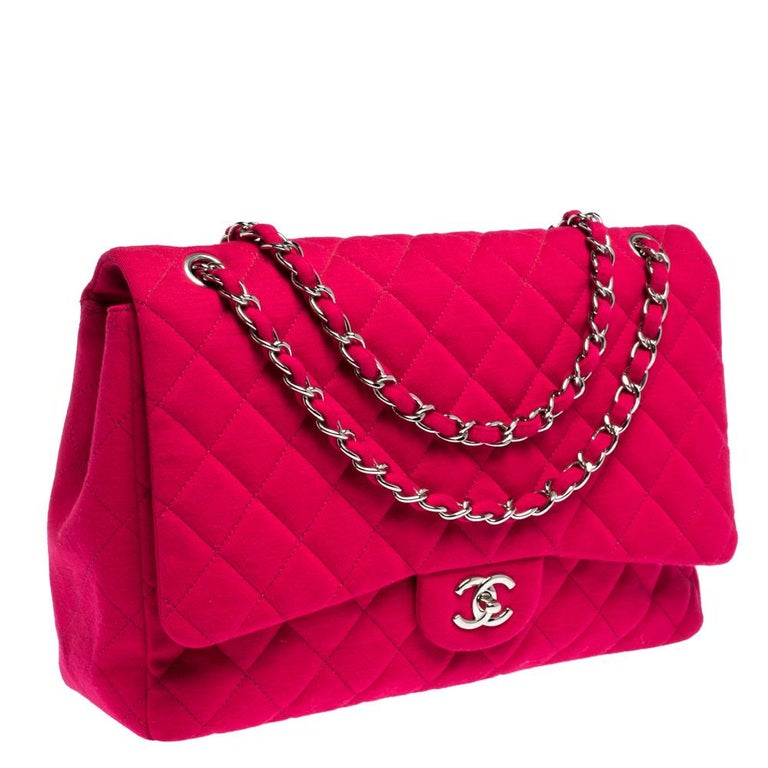 Women's Chanel Magenta Quilted Jersey Maxi Classic Single Flap Bag
