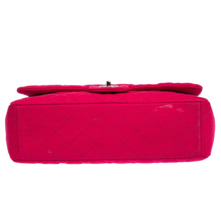 Chanel Magenta Quilted Jersey Maxi Classic Single Flap Bag 1