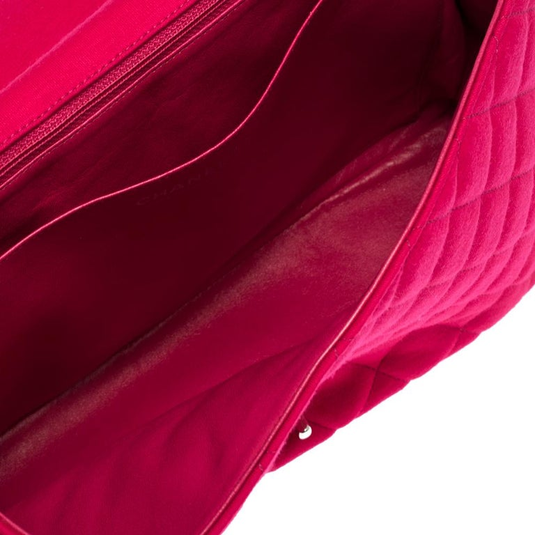 Chanel Magenta Quilted Jersey Maxi Classic Single Flap Bag 4