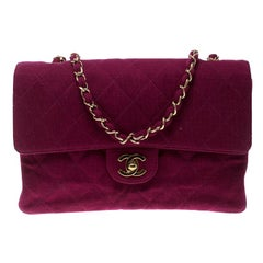 Chanel Magenta Quilted Jersey Medium Classic Single Flap Bag