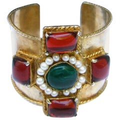 Chanel Maison Gripoix Byzantine Style Poured Glass Gilt Metal Cuff  c 1984