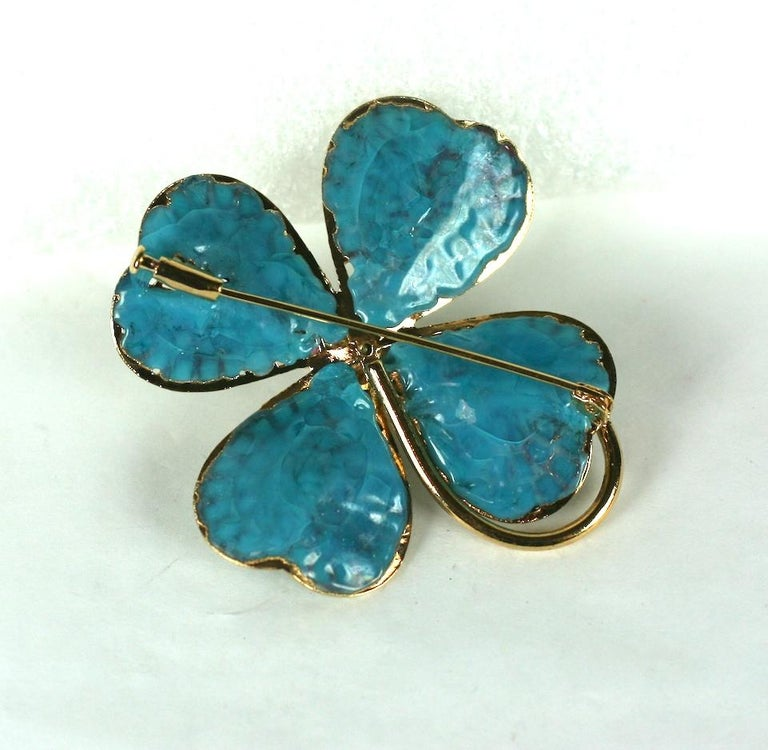 Chanel Maison Gripoix Clover Brooch For Sale 1