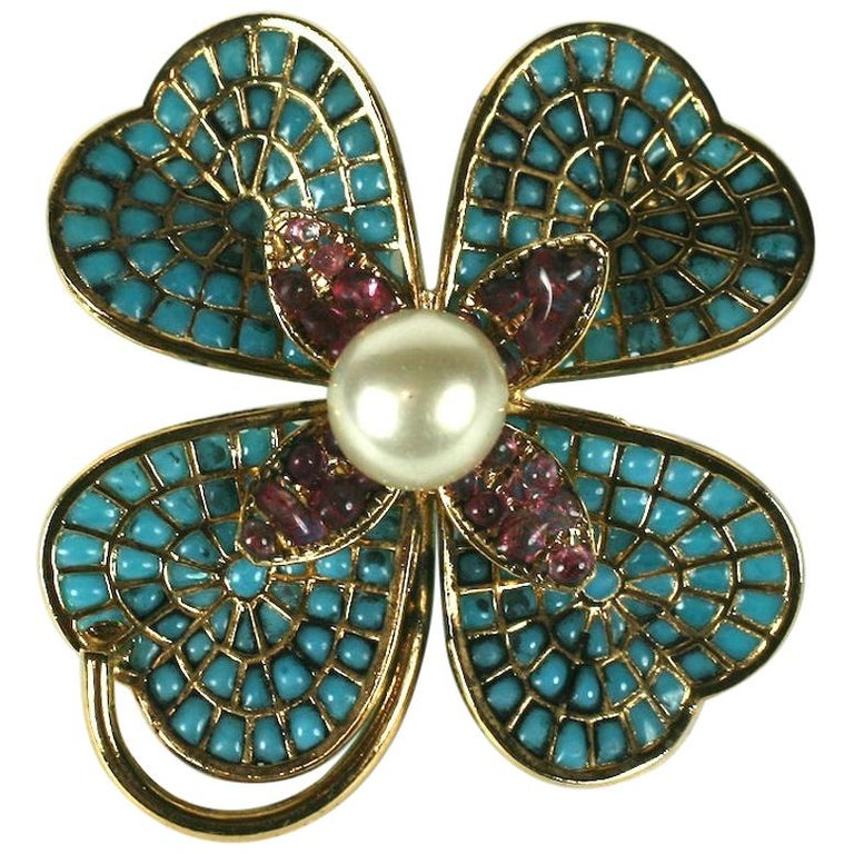 Chanel Maison Gripoix Clover Brooch For Sale