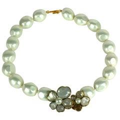 Chanel Maison Gripoix Poured Glass Double Flower Necklace