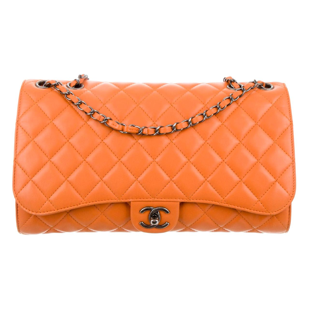 Chanel Mandarin Orange Shopper Drawstring Flap Bag