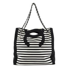 Chanel Mariniere Chain Tote Striped Canvas Large