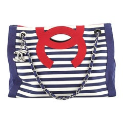Chanel Mariniere Chain Tote Striped Canvas Small