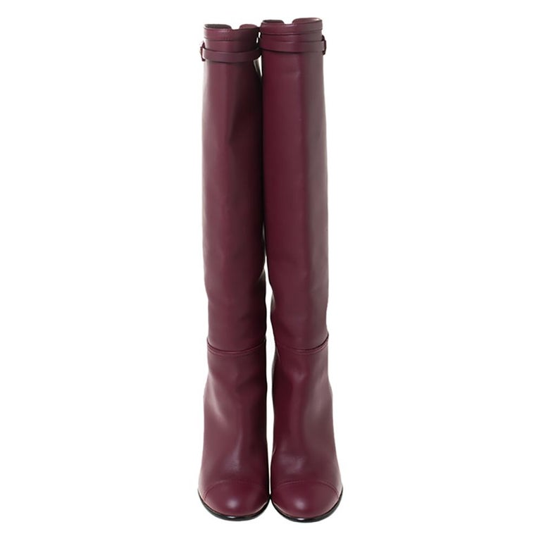 Black Chanel Maroon Leather Knee Length Boots Size 40 For Sale