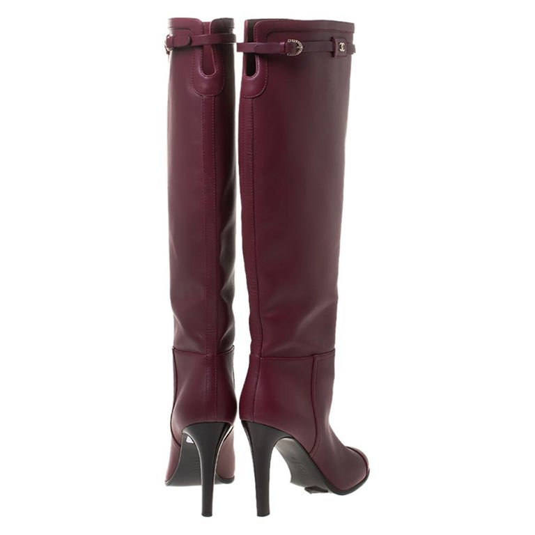 Women's Chanel Maroon Leather Knee Length Boots Size 40 For Sale