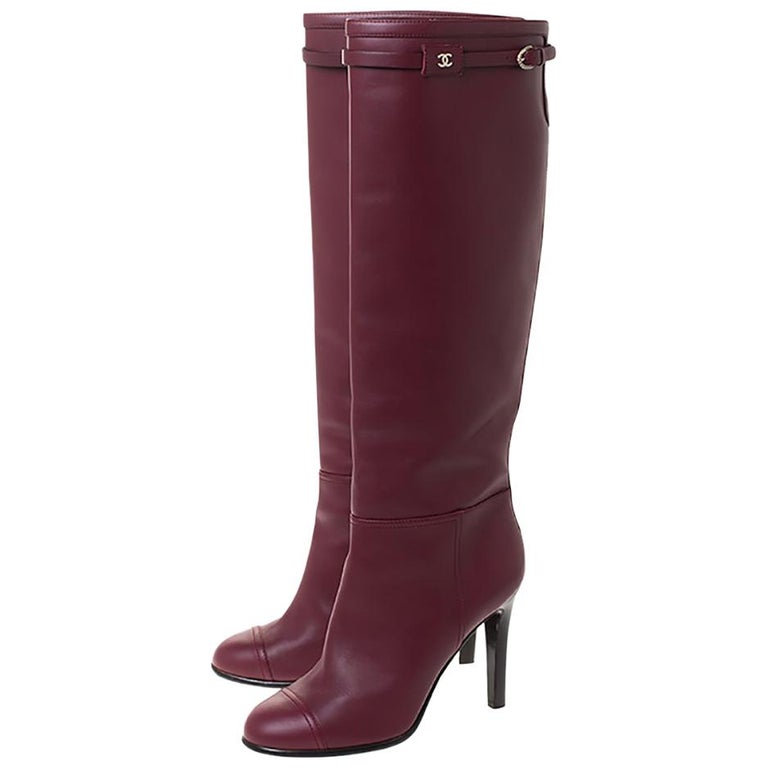 Chanel Maroon Leather Knee Length Boots Size 40 For Sale