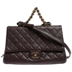 Chanel Maroon Leather Large Trapezio Flap Bag