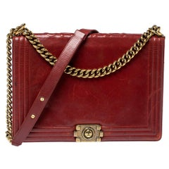 Chanel Maroon Leather Reverso Boy Bag
