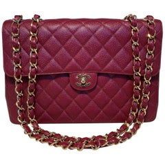 Chanel Maroon Quilted Caviar Leather Maxi Classic Flap Shoulder Bag