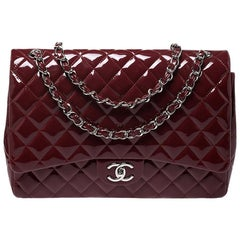 Chanel Maroon Quilted Patent Leather Maxi Classic Double Flap Bag