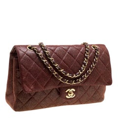 Chanel Maroon Suede Vintage Classic Double Flap Bag