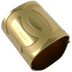 Chanel Massive Gold Toned Mirrored CC Wide Cuff Bracelet