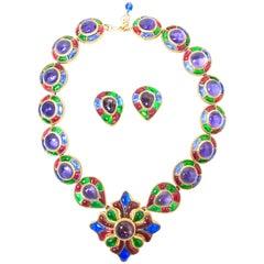 Chanel Masterpiece 80s Gripoix Glass Byzantine Style Necklace & Earrings