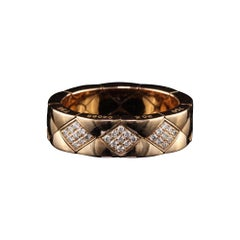 Chanel Matelasse 18 Karat Rose Gold Diamond Flexible Ring