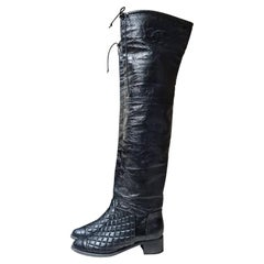 Chanel Matelasse Black Leather Over Knee Boots