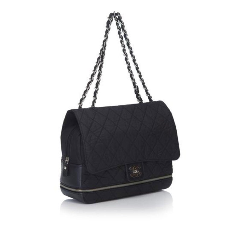 Chanel Matelasse Chain Flap Black Nylon Shoulder Bag In Good Condition For Sale In Miami, FL