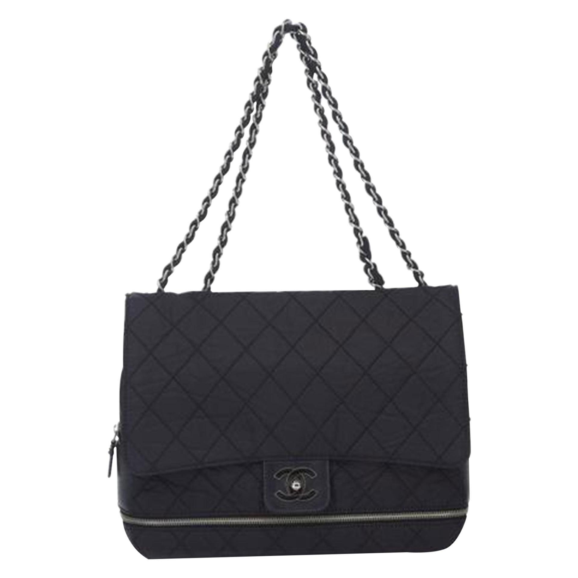 Chanel Matelasse Chain Flap Black Nylon Shoulder Bag