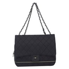 Chanel Matelasse Chain Flap Black Nylon Shoulder Bag