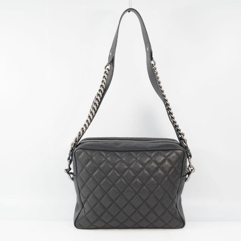 An authentic CHANEL matelasse chain shoulder  Camera bag Womens shoulder bag black x antique . The color is black x antique silver hardware. The outside material is soft caviar skin. The pattern is matelasse  chain shoulder   Camera bag. This item