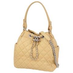 CHANEL matelasse chain shoulderー handbag purse Womens shoulder bag beige x silve