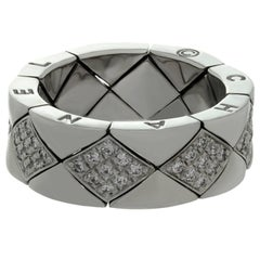 CHANEL Matelasse Diamond White Gold Flexible Quilted Ring. Size 52