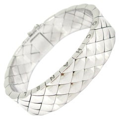 Chanel Matelasse Quilted Semi Flexible Large Bangle Bracelet
