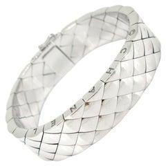 Chanel Matelasse Quilted Semi Flexible Large Bangle Bracelet