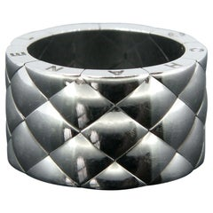 Chanel Matelasse Quilted White Gold Band Ring