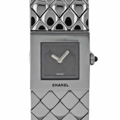Chanel Matelasse Stainless Steel Black Dial Quartz Ladies Watch on Bracelet