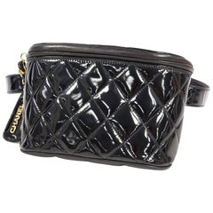 CHANEL matelasse Waist bag black x gold hardware