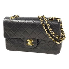CHANEL matelasse23 W Chain Flap Womens shoulder bag black x gold hardware