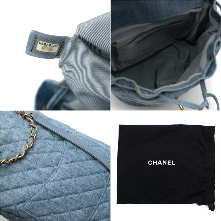 Chanel Matrasse Coco Mark denim backpack For Sale 5