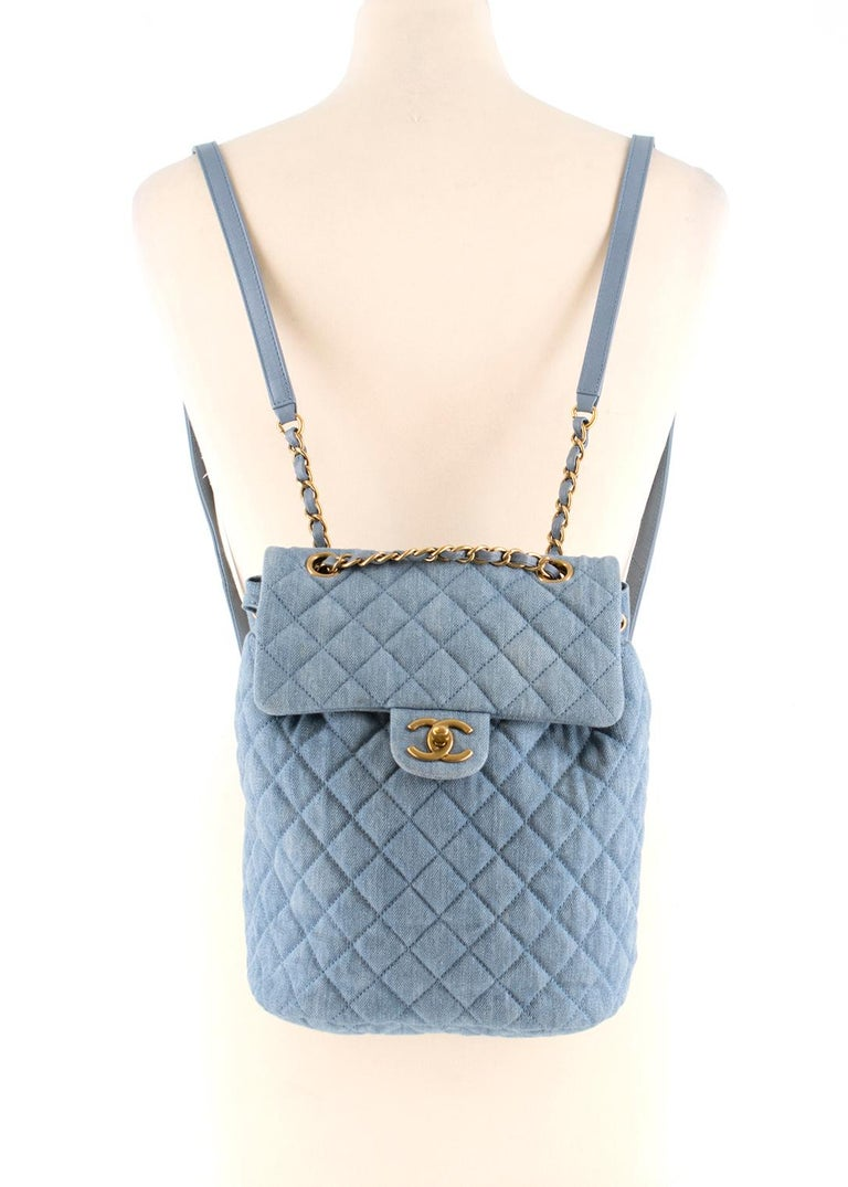 Chanel Matrasse Coco Mark denim backpack In Good Condition For Sale In London, GB