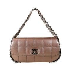 Chanel Mauve Metallic Leather Triple Chain Small Flap Bag