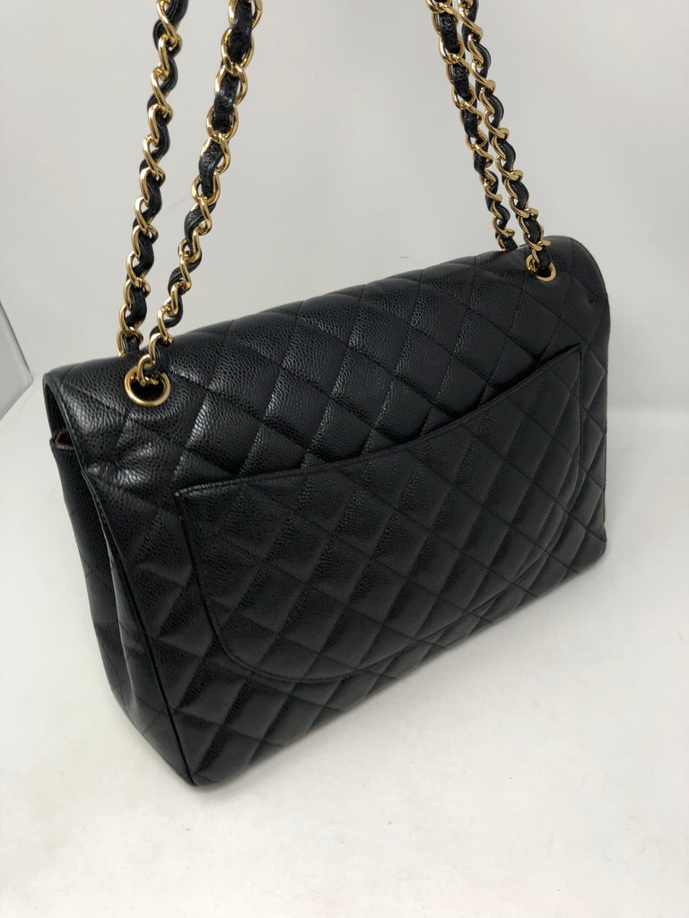Chanel Maxi Black Caviar GHW Double Flap For Sale 6