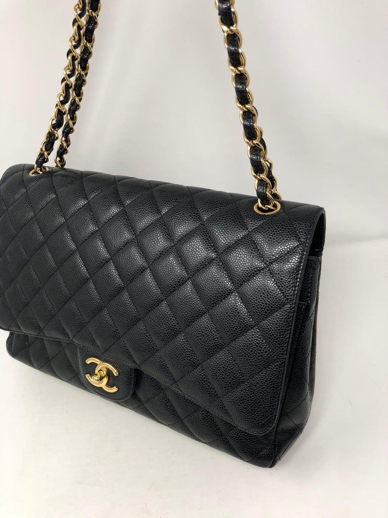 Chanel Maxi Black Caviar GHW Double Flap For Sale 7
