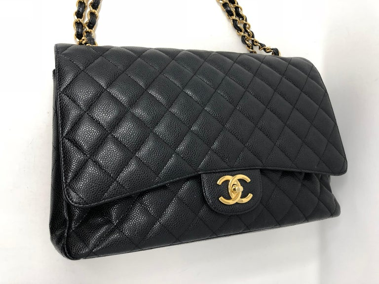 Chanel Maxi Black Caviar GHW Double Flap For Sale 8