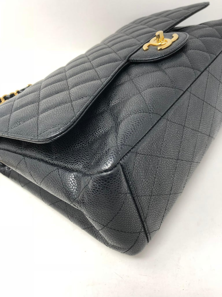 Chanel Maxi Black Caviar GHW Double Flap For Sale 9