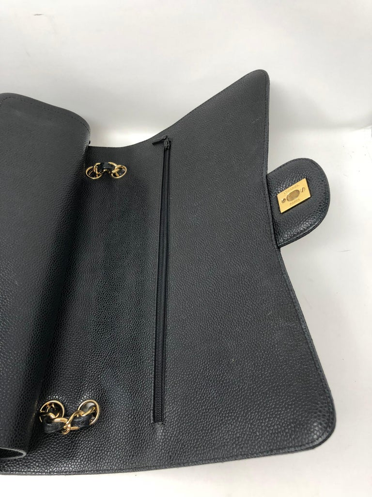 Chanel Maxi Black Caviar GHW Double Flap For Sale 10