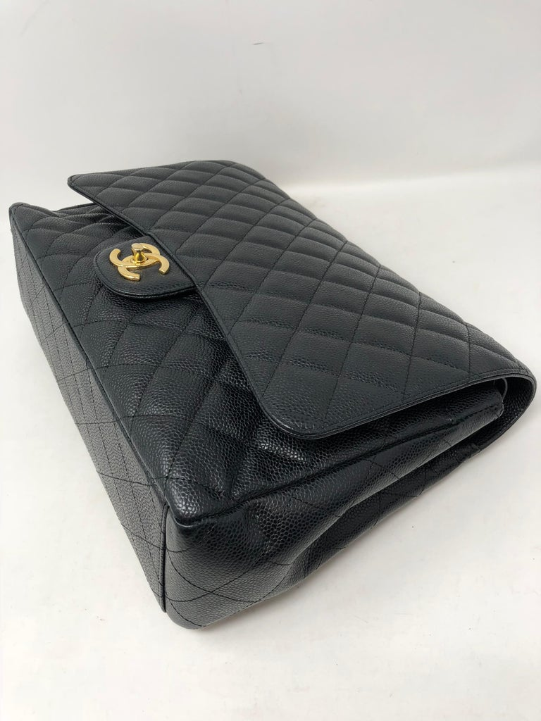 Chanel Maxi Black Caviar GHW Double Flap For Sale 11