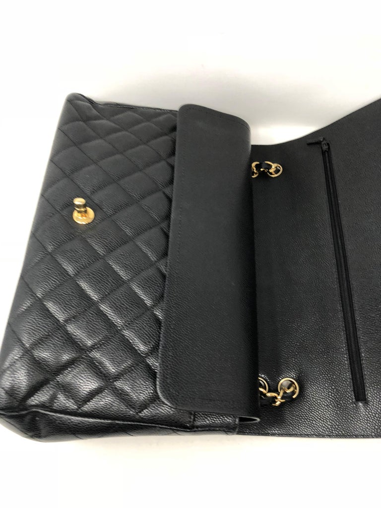 Chanel Maxi Black Caviar GHW Double Flap For Sale 12