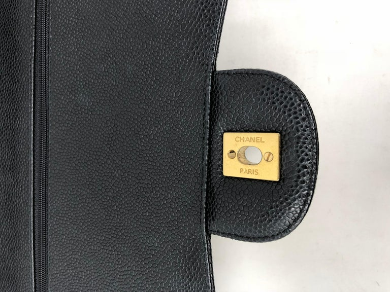 Chanel Maxi Black Caviar GHW Double Flap For Sale 13