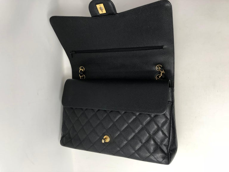 Chanel Maxi Black Caviar GHW Double Flap For Sale 14