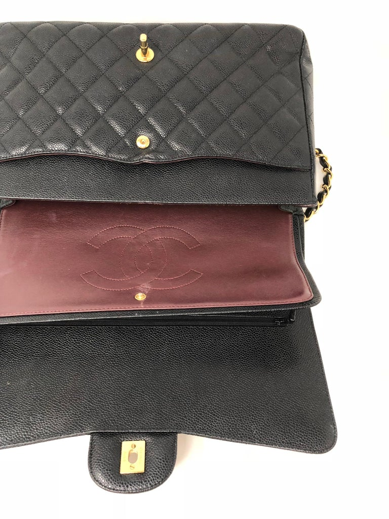 Chanel Maxi Black Caviar GHW Double Flap For Sale 15